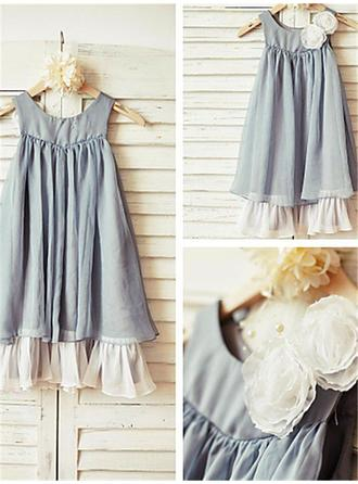 A-Line/Princess Scoop Neck Ankle-length With Ruffles Chiffon Flower Girl Dresses