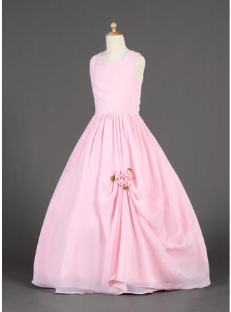 peach chiffon flower girl dresses