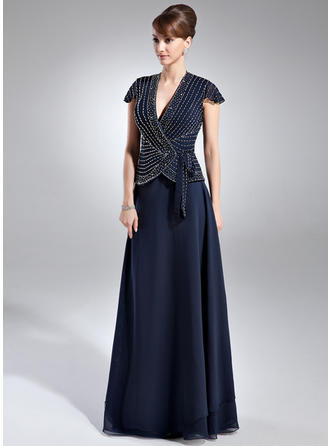 A-Line/Princess Chiffon Short Sleeves V-neck Floor-Length Zipper Up at Side Mother of the Bride Dresses