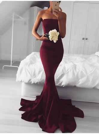 Charmeuse Sleeveless Trumpet/Mermaid Prom Dresses Strapless Sweep Train