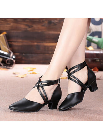 Women's Ballroom Character Shoes Heels Sandals Real Leather With Buckle Hollow-out Dance Shoes