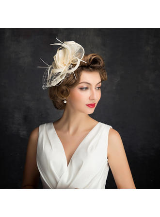 Feather/Fil net/Tulle/Lin avec Feather Chapeaux de type fascinator Style Classique Dames Chapeau