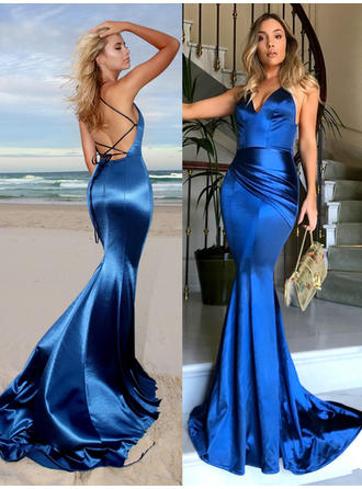 Trumpet/Mermaid V-neck Charmeuse Sleeveless Court Train Ruffle Evening Dresses