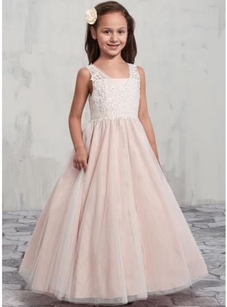 A-Line/Princess V-neck Floor-length Tulle/Lace Sleeveless Flower Girl Dresses