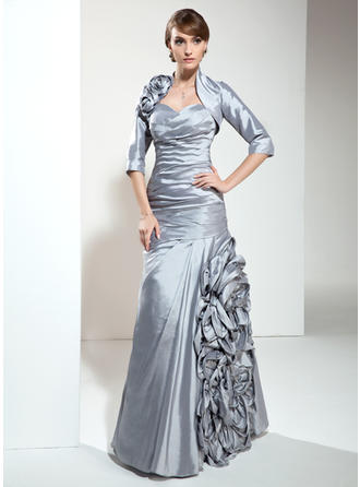 Taffeta Sleeveless Mother of the Bride Dresses Sweetheart A-Line/Princess Ruffle Flower(s) Floor-Length