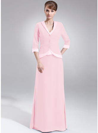 Chiffon Charmeuse Sleeveless Mother of the Bride Dresses V-neck A-Line/Princess Floor-Length