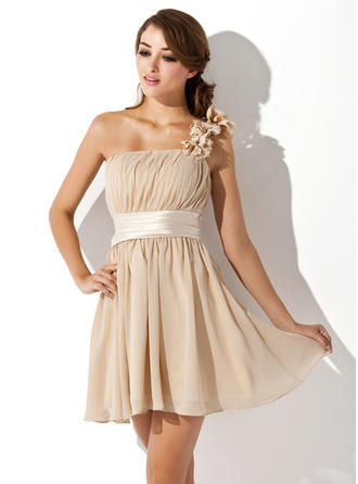 Modern Chiffon Sleeveless One-Shoulder Ruffle Flower(s) Bow(s) Homecoming Dresses