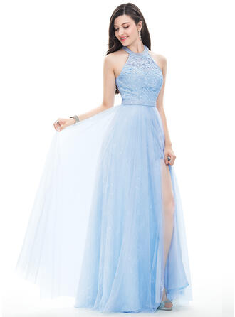 A-Line/Princess Halter Floor-Length Tulle Prom Dresses With Beading Sequins Split Front