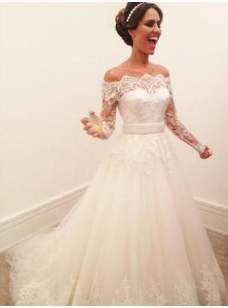 Off-The-Shoulder A-Line/Princess Wedding Dresses Tulle Lace Long Sleeves Sweep Train