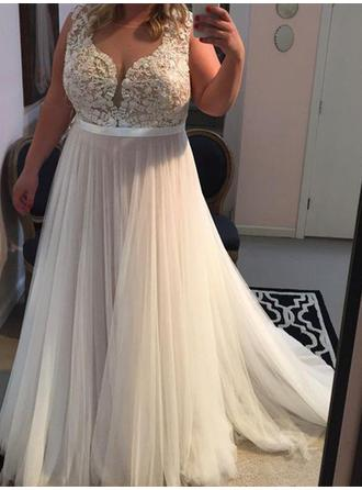 A-Line/Princess Simple Sleeveless Tulle Prom Dresses