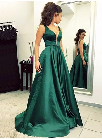 A-Line/Princess Satin Prom Dresses Glamorous Floor-Length V-neck Sleeveless