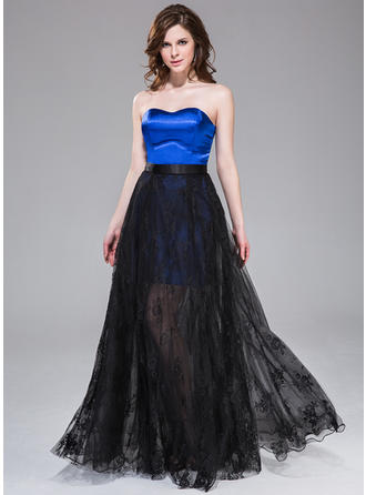 Satin Tulle Lace Sleeveless A-Line/Princess Prom Dresses Sweetheart Floor-Length Detachable