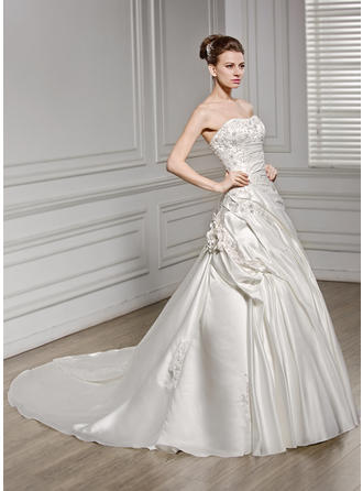 Newest Cathedral Train A-Line/Princess Wedding Dresses Sweetheart Satin Sleeveless