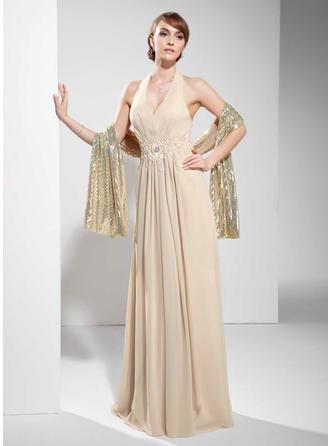 A-Line/Princess Halter Floor-Length Chiffon Prom Dress With Ruffle Lace Beading