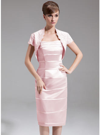 Charmeuse Sleeveless Mother of the Bride Dresses Sweetheart Sheath/Column Knee-Length