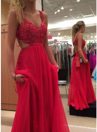 A-Line/Princess V-neck Sweep Train Chiffon Prom Dress With Lace