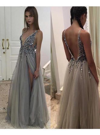 A-Line/Princess V-neck Floor-Length Tulle Prom Dress With Beading Sequins Split Front