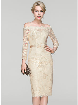 Modern Lace Prom Dresses Sheath/Column Knee-Length Off-the-Shoulder Long Sleeves