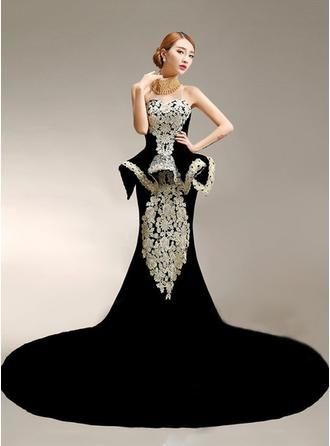 Trumpet/Mermaid High Neck Chapel Train Evening Dress With Beading