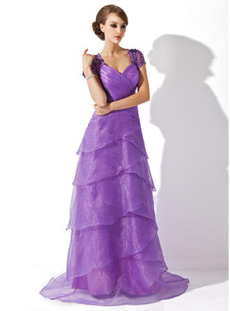 Ruffle Lace Beading Sequins V-neck Elegant Organza Mother of the Bride Dresses