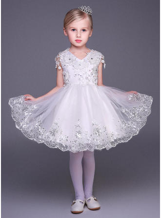 A-Line/Princess V-neck Short/Mini With Appliques/Sequins/Rhinestone Tulle Flower Girl Dresses