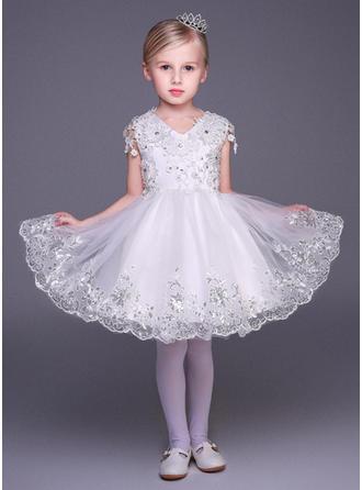 Forme Princesse Court/Mini Robes à Fleurs pour Filles - Tulle Manches courtes Col V avec Motifs appliqués Dentelle/Paillettes/Strass