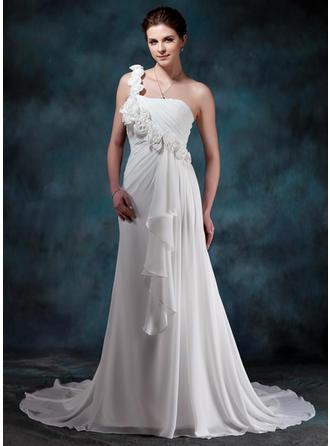 A-Line/Princess Sweetheart One-Shoulder Court Train Chiffon Wedding Dress With Flower(s) Cascading Ruffles