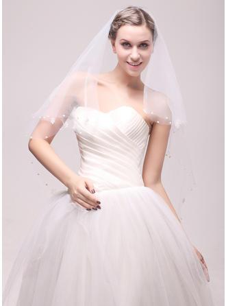 Einschichtig Schnittkante Walzer Braut Schleier mit Perlstickerei