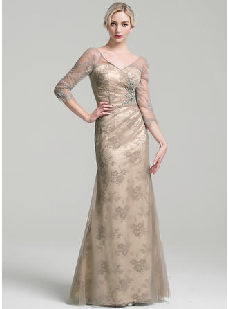 Sheath/Column Tulle 3/4 Sleeves V-neck Floor-Length Zipper Up Mother of the Bride Dresses