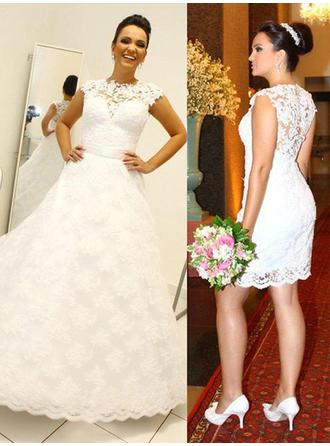 Delicate Detachable Ball-Gown Wedding Dresses Scoop Neck Lace