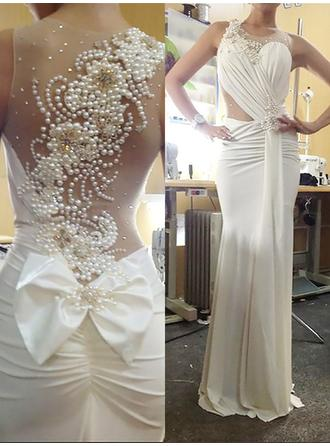 Trumpet/Mermaid Jersey Prom Dresses Luxurious Sweep Train Scoop Neck Sleeveless