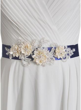 Women Satin With Flower/Imitation Pearls Sash Gorgeous Sashes & Belts
