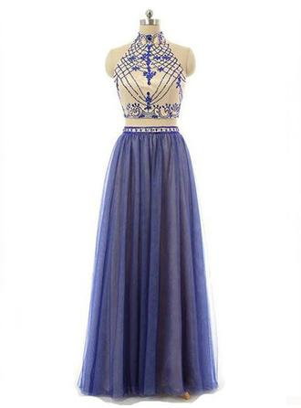 Chiffon Sleeveless A-Line/Princess Prom Dresses High Neck Beading Floor-Length