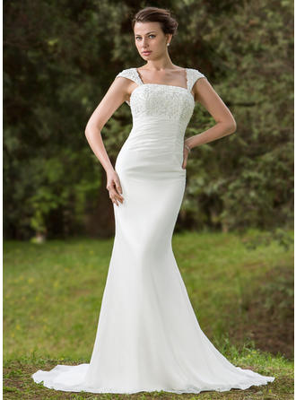Luxurious Court Train Trumpet/Mermaid Wedding Dresses Square Chiffon Sleeveless