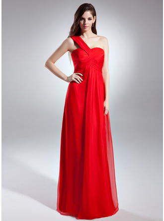 Empire One-Shoulder Chiffon Sleeveless Floor-Length Ruffle Evening Dresses (017015600)