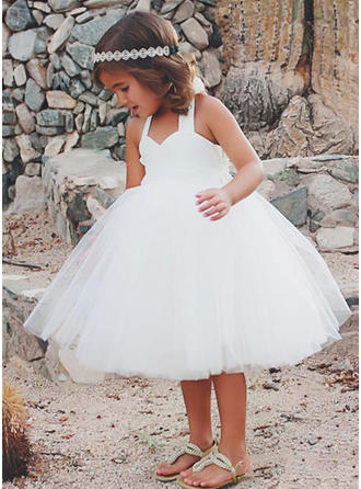 A-Line/Princess Halter Knee-length Tulle/Lace Sleeveless Flower Girl Dress
