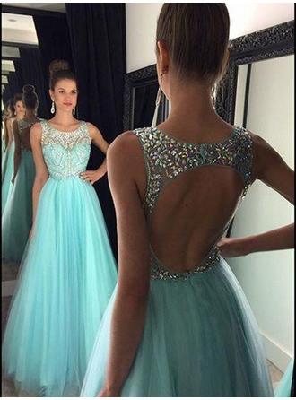 Tulle Sleeveless A-Line/Princess Prom Dresses Scoop Neck Beading Floor-Length