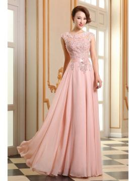 A-Line/Princess Scoop Neck Floor-Length Chiffon Prom Dress With Sash Beading Appliques Lace