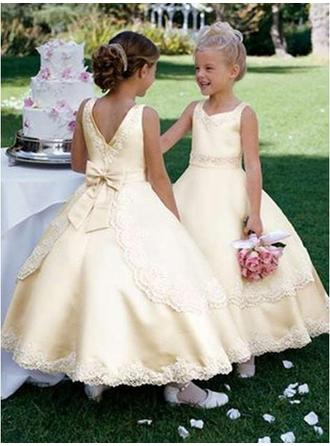 Chic Ankle-length Ball Gown Flower Girl Dresses Square Neckline Satin Sleeveless