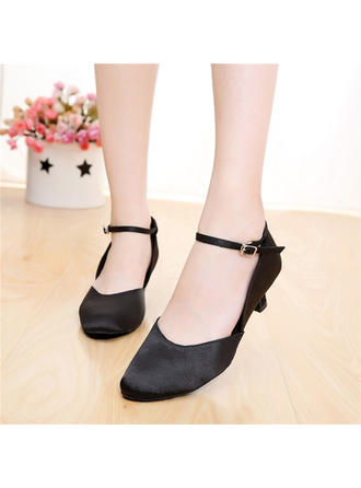 Women's Ballroom Character Shoes Heels Sandals Satin With Buckle Dance Shoes
