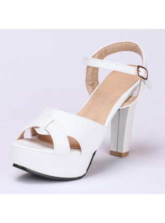 Women's Peep Toe Sandals Chunky Heel Leatherette With Buckle Wedding Shoes (047208140)