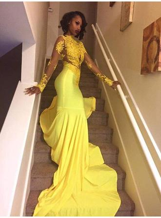 Magnificent Silk Like Satin Prom Dresses Trumpet/Mermaid Sweep Train High Neck Long Sleeves