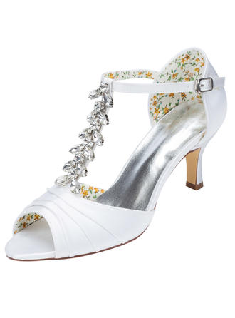 Women's Pumps Stiletto Heel Satin With Crystal Wedding Shoes
