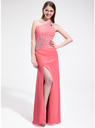 Chiffon Sleeveless Sheath/Column Prom Dresses One-Shoulder Ruffle Beading Split Front Floor-Length