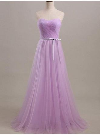 Tulle Sleeveless A-Line/Princess Bridesmaid Dresses Sweetheart Ruffle Sash Floor-Length
