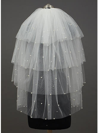 Elbow Bridal Veils Four-tier Classic With Cut Edge With Beading/Faux Pearl Wedding Veils
