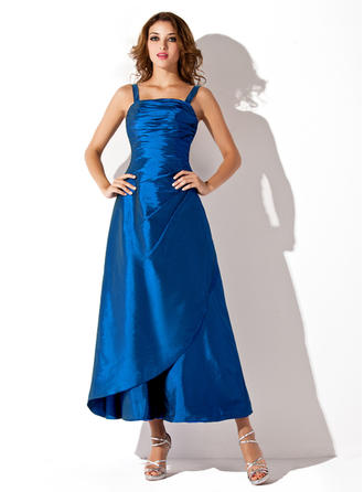 Taffeta Sleeveless A-Line/Princess Bridesmaid Dresses Square Neckline Ruffle Ankle-Length