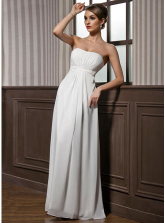 Chiffon Sleeveless Empire Bridesmaid Dresses Sweetheart Ruffle Beading Floor-Length