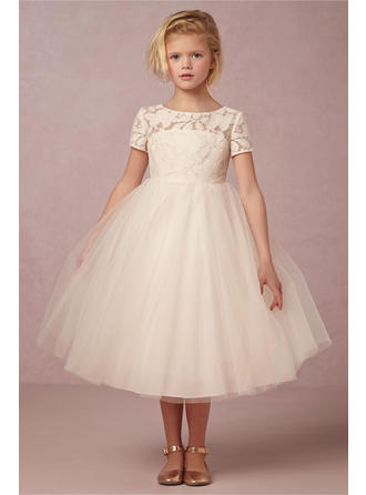 Ball Gown Scoop Neck Knee-length With Lace/Back Hole Tulle/Lace Flower Girl Dress