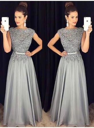 A-Line/Princess Scoop Neck Floor-Length Chiffon Evening Dresses With Sash Beading Appliques Lace
